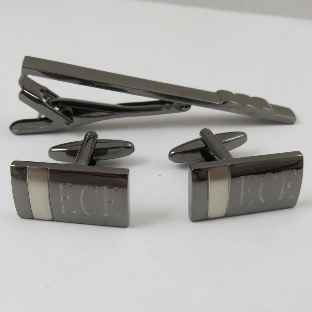 Gunmetal Cuff Links & Tie Clip Set