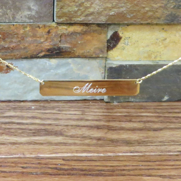 Gold Plated Monogram Bar Necklace