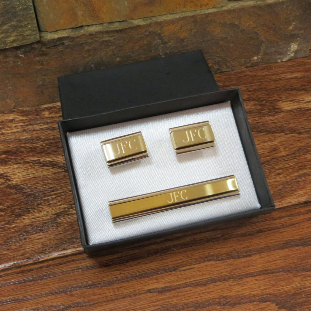 Personalized Cuff Links With Monogrammed Tie Clip
