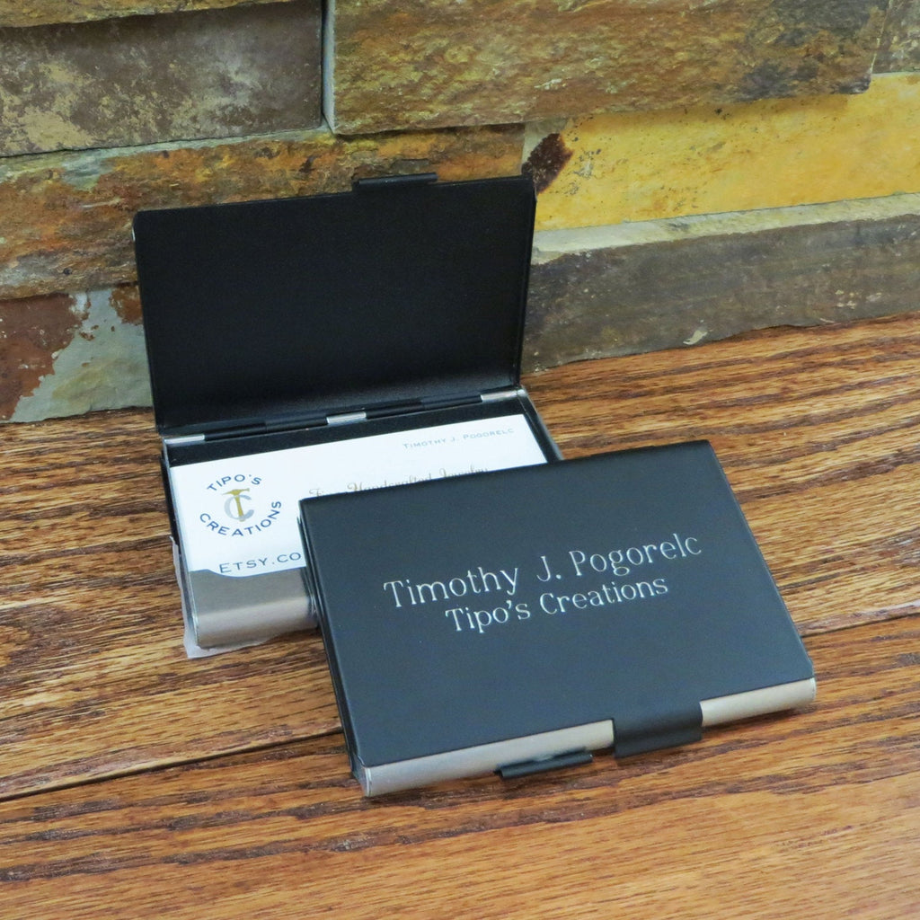 Personalized Business Card holder Double Sided