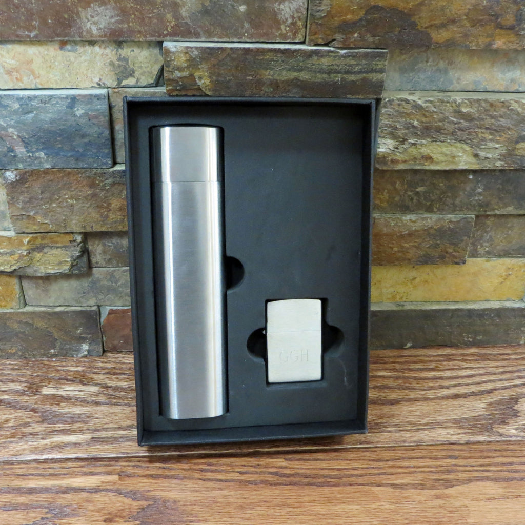 Personalized Cigar/Flask with Zippo Set