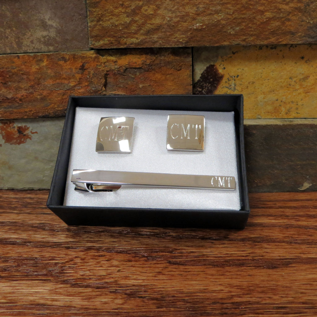 Personalized Cuff Links with Tie Clip