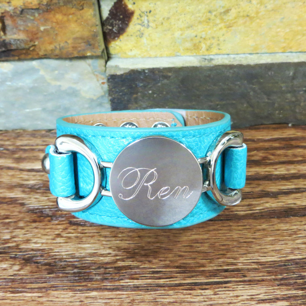 Silver Leather Personalized Bracelet Teal
