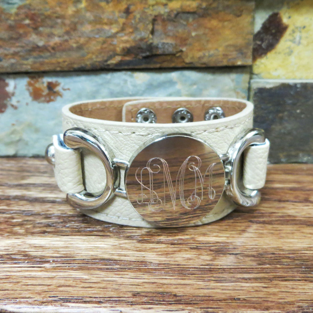 Silver Leather Personalized Bracelet