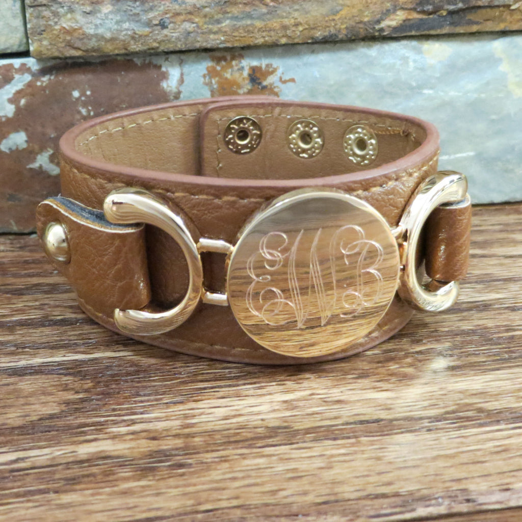 Gold Leather Monogram Bracelet