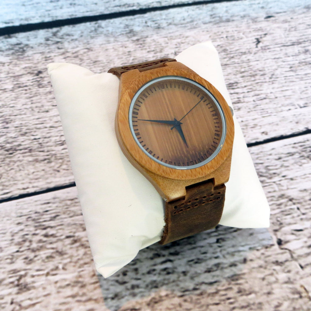 Wood Watch with Leather Band Personalized