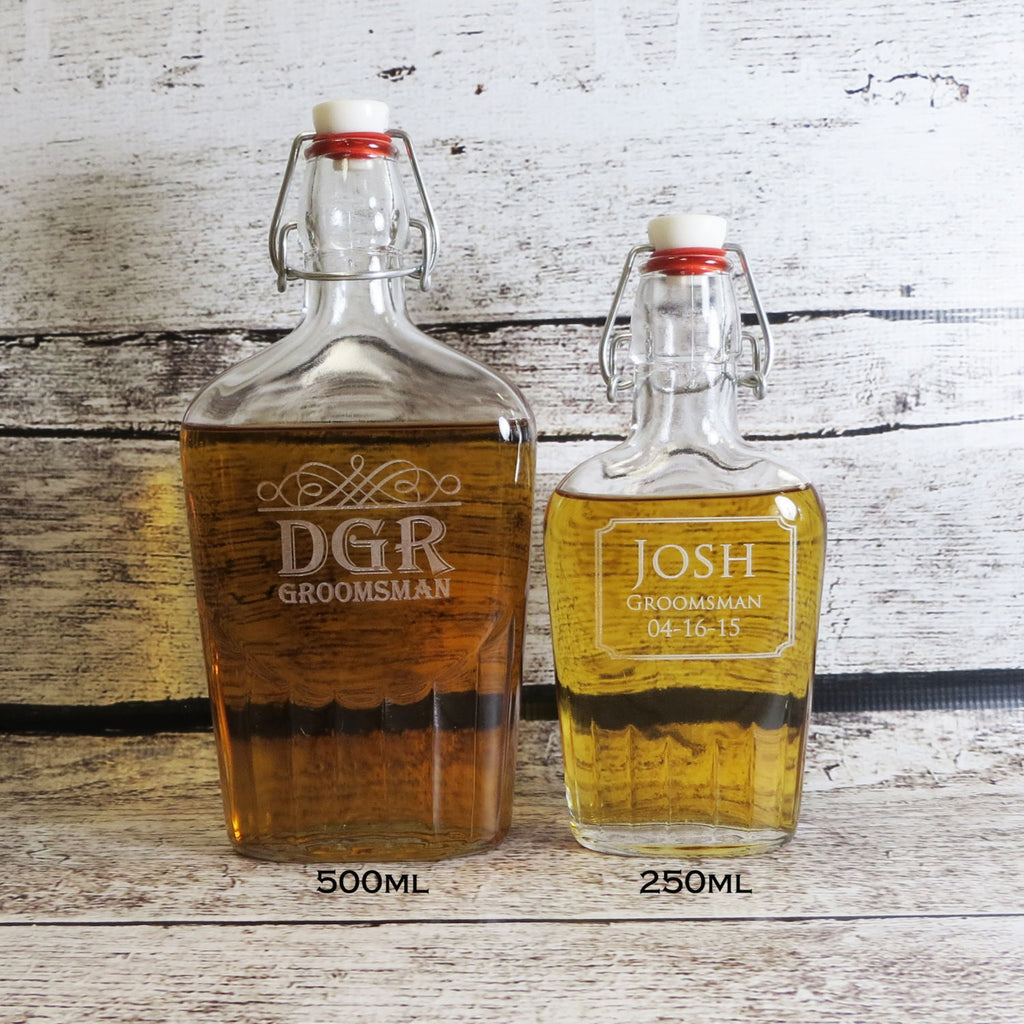 Personalized Large Glass Whiskey Flask
