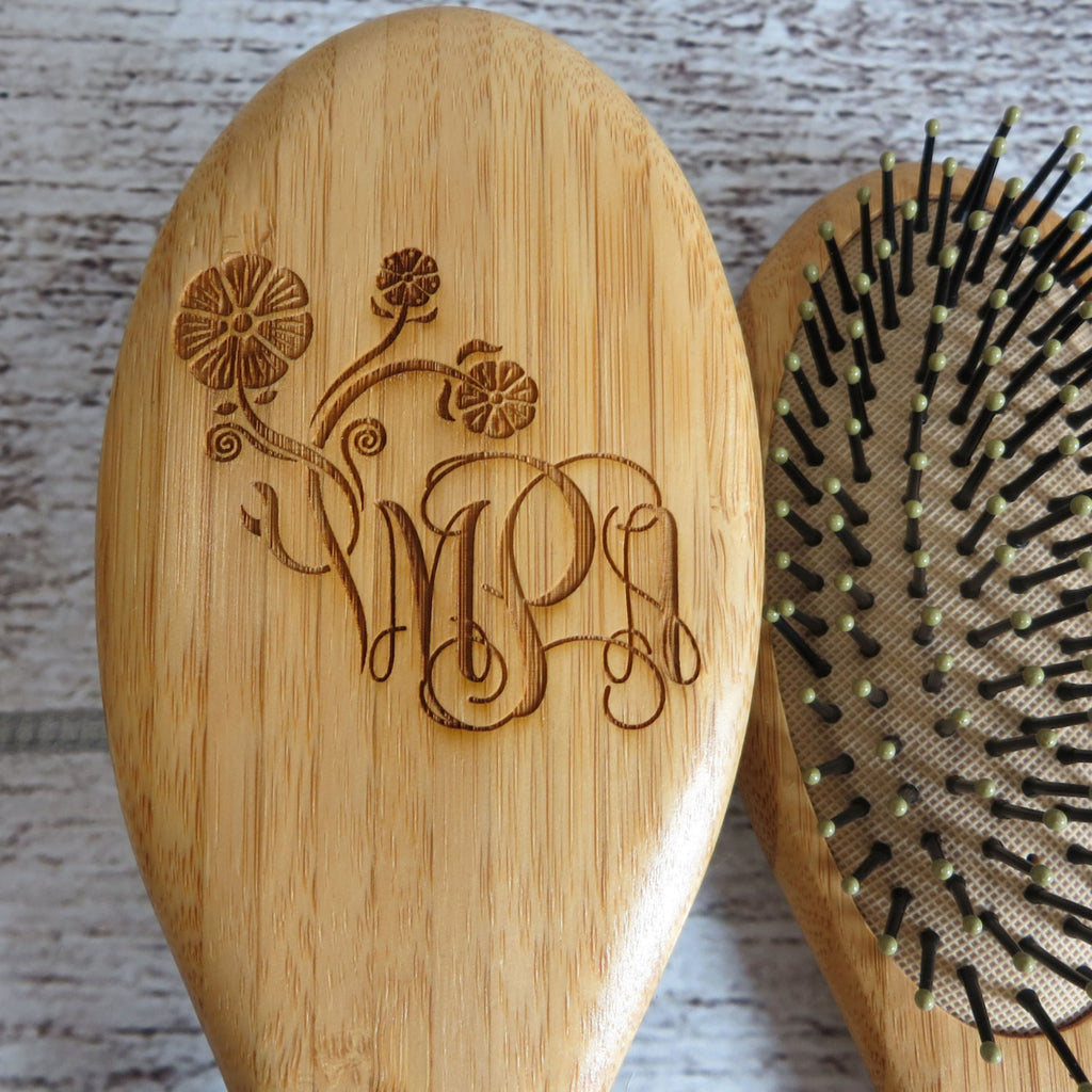 Oval Wooden Hair Brush Personalized