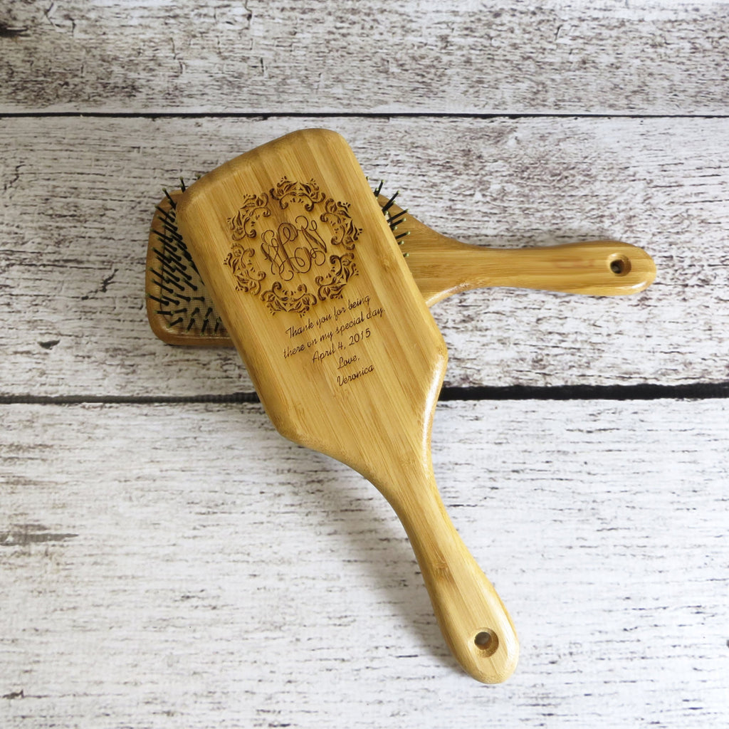 Personalized Wood Paddle Hair Brush