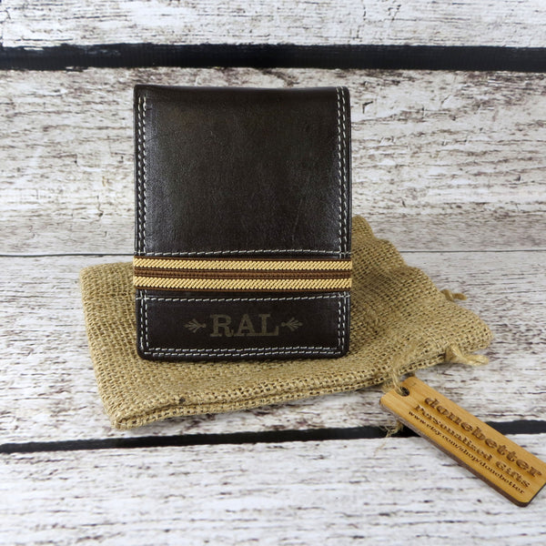 Personalized Bi Fold Men's Wallet Monogrammed