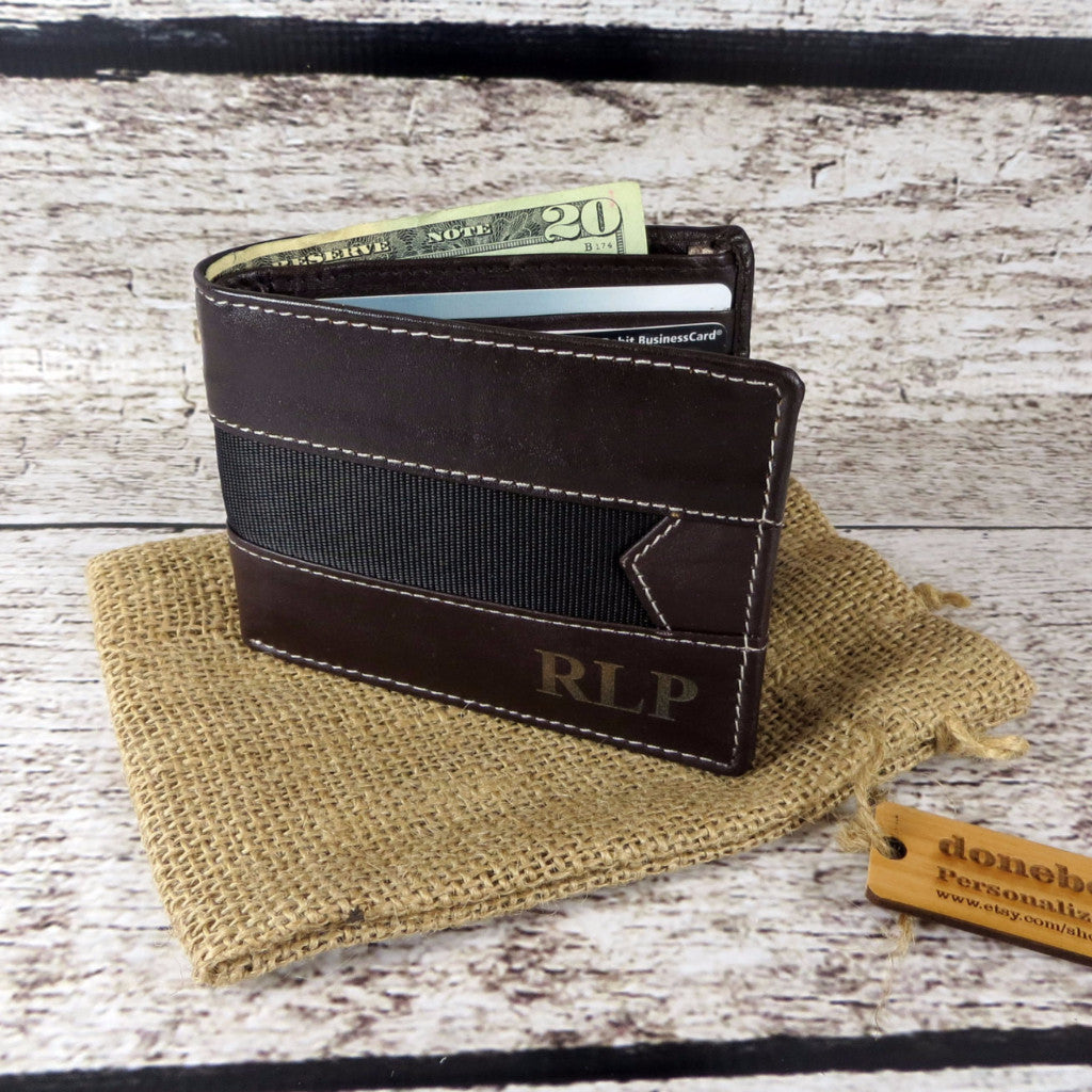 Bi-fold Men's Leather Wallet Personalized