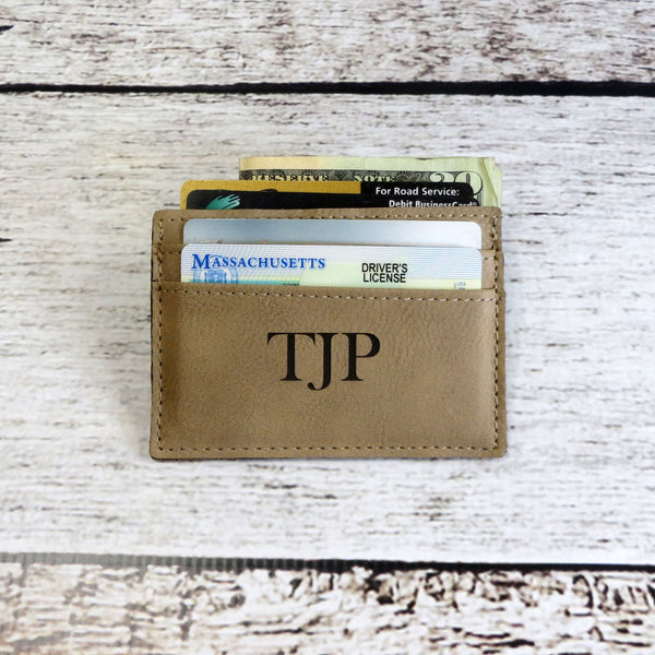 Personalized Leather Money Clip Card Holder