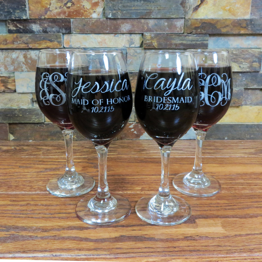 Set of 2 Monogrammed Personalized Wine Glasses