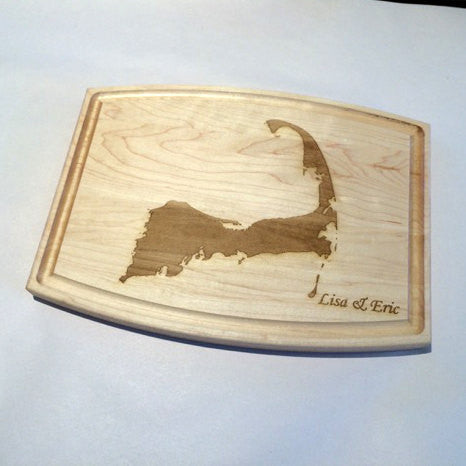 Personalized Cape Cod Map Outline Cutting Board