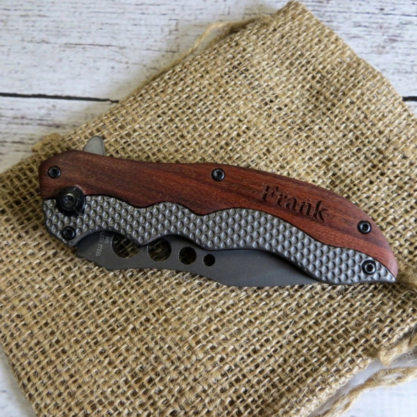 Wood and Metal Pocket Knife Personalized