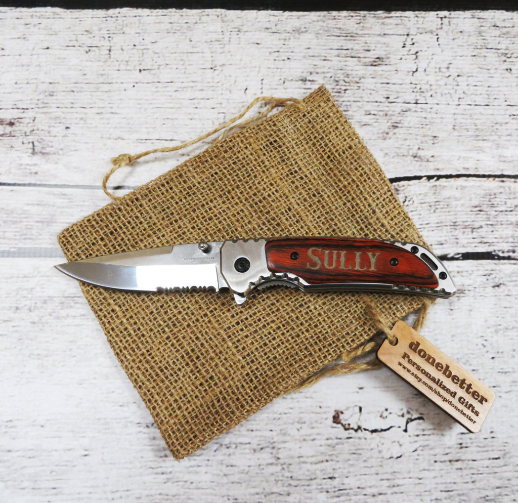 Personalized Pocket Knife with Wood Handle