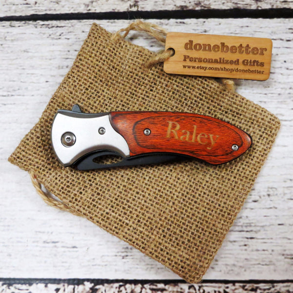 Personalized Wood Handle Pocket Knife