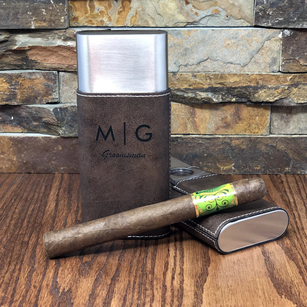 Personalized Stainless Steel Cigar Case with Guillotine Cutter
