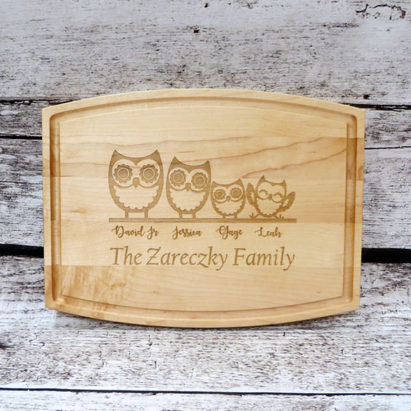 Owl Family Personalized Cutting Board