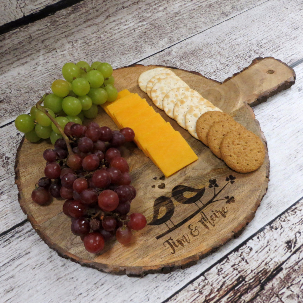 Bark Edge Round Cutting Board Serving Platter
