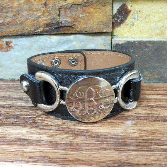 Personalized Leather Bracelet w Silver disc