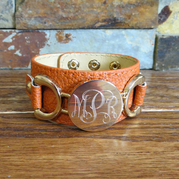 Southwest Orange Leather Monogram Bracelet w/ Gold Disc