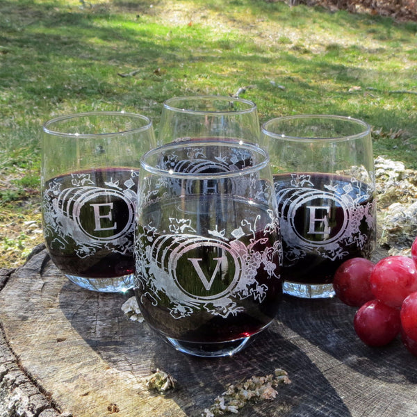 Custom Designed Stemless Wine Glasses