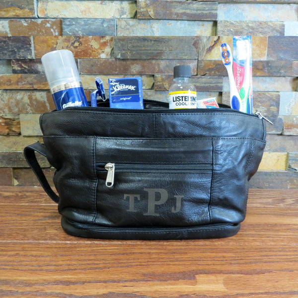 Leather Utility Travel Shave Bag