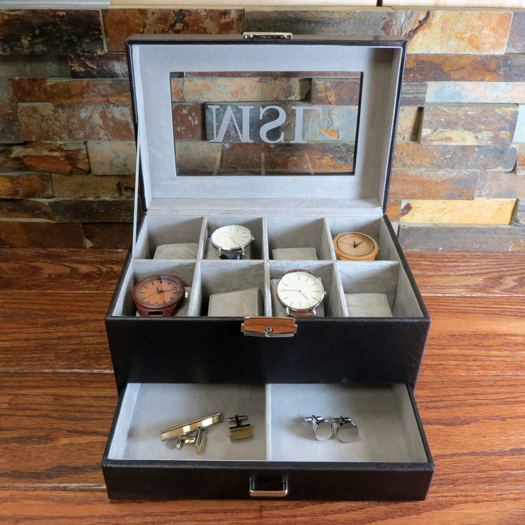 Personalized Watch Box with Jewelry Drawer