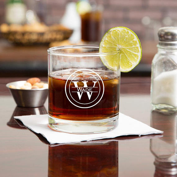 Personalized Glass Whiskey Tumbler
