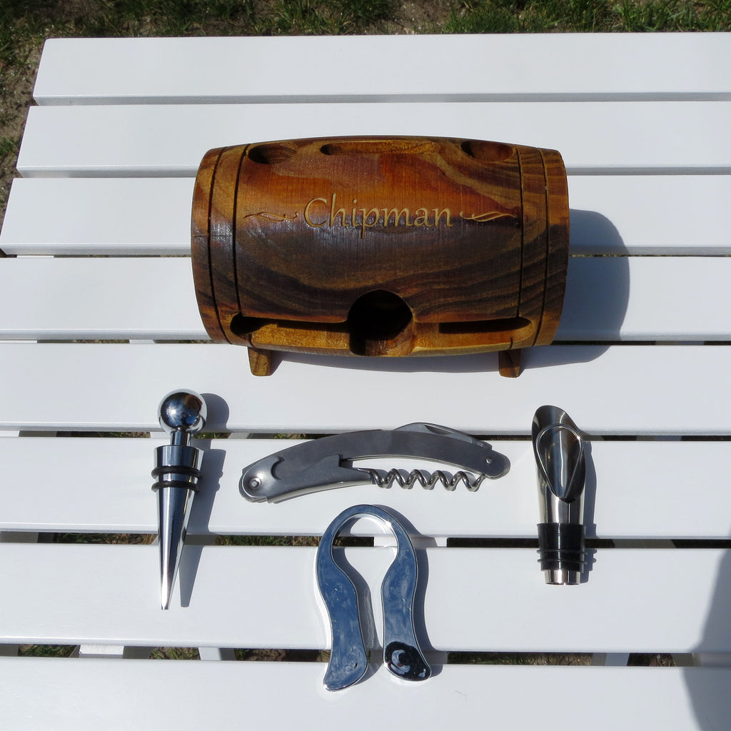 Wine Barrel Wine Accessory Set