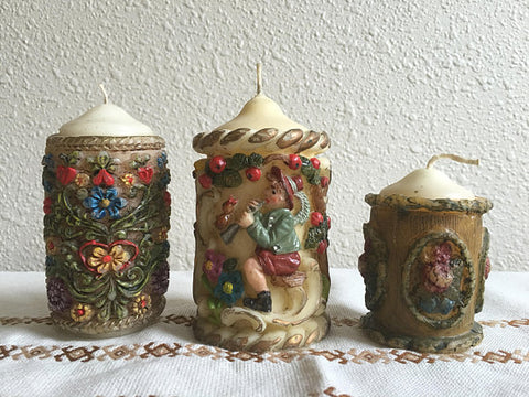 Vintage Pillar Candles Photo
