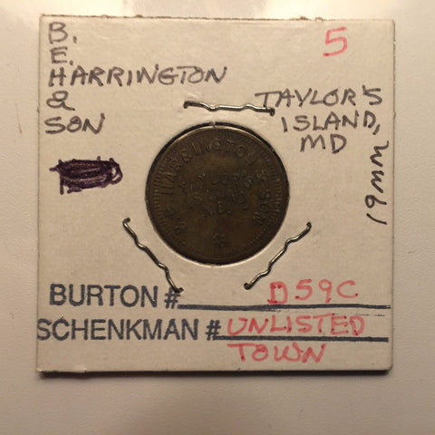 Vintage Cannery Token B. E. Harrington & Son, Taylor's Island, Maryland