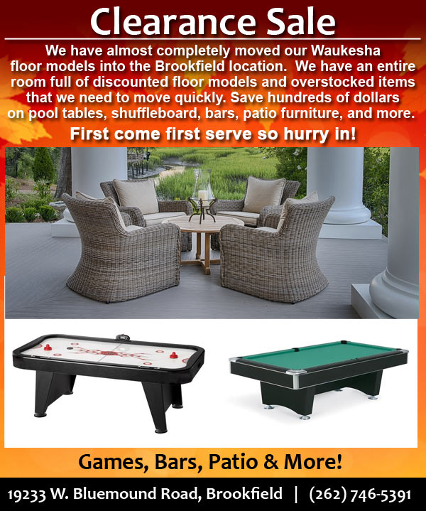 Fall into Savings - Great Deals on Patio, Sports Memorabilia, Fire Pits, Pool Tables and More!