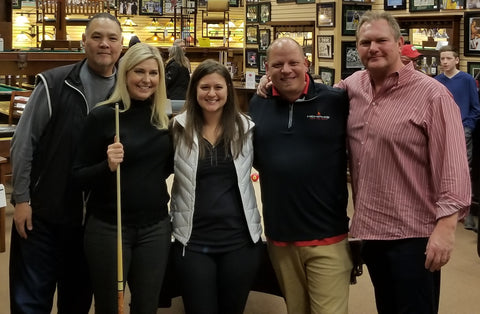 L to R - Big Steve (Olhausen Billiards), THE LoreeJon Hasson, Alissa Komula (Drawing Winner of the Olhausen billiard table!), Rob Kahler (Store Manager, Master Z's) and Jim Lindenberg (President and Owner, Master Z's)