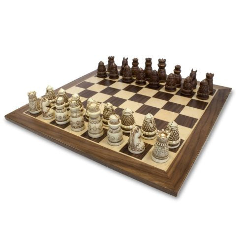 Medieval Chess Set - Polystone Pieces w/Distressed Wooden Board