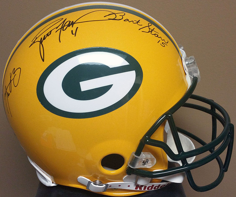 Bart Starr, Aaron Rodgers, Brett Favre Green Bay Packers Signed Full Size Authentic Proline Helmet