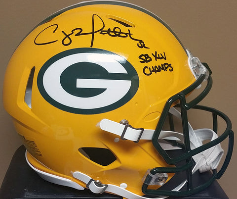 Clay Matthews Green Bay Packers Signed Full Size Authentic Speed Helmet with SB XLV Champs Inscription