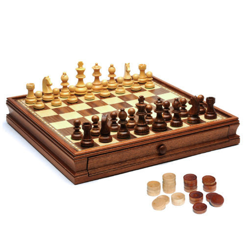 French Staunton Chess & Checkers Set - Weighted Pieces, Brown & Natural Wooden Board w/Storage Drawers