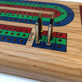 Classic Cribbage Set - Solid Wood Continuous 3 Track Board w/Pegs