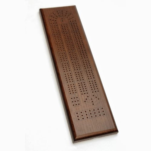 Classic Cribbage Set - Stained Oak Wood Continuous 3 Track Board w/Pegs