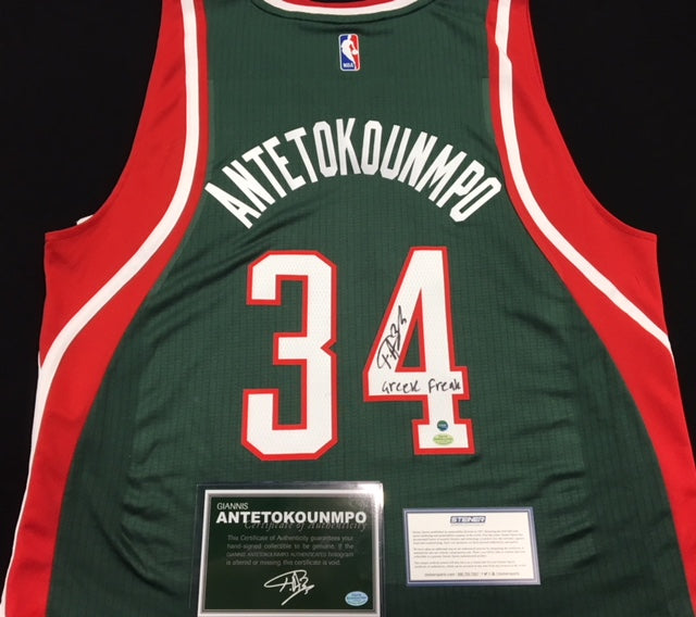 Giannis Antetokounmpo Milwaukee Bucks Green/Red Swingman Signed Jersey