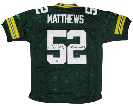 outlet store 88e5e d0110 Clay Matthews Green Bay Packers Signed Custom Green Jersey with SB XLV  Champs Inscription