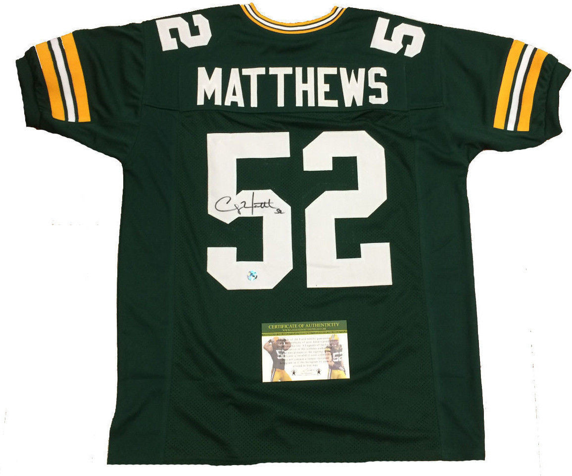 new style d506f 2fe11 Clay Matthews Green Bay Packers Signed Custom Green Jersey