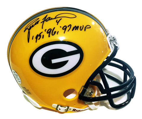 Brett Favre Green Bay Packers Signed Mini Helmet with 95 96 97 MVP Inscription