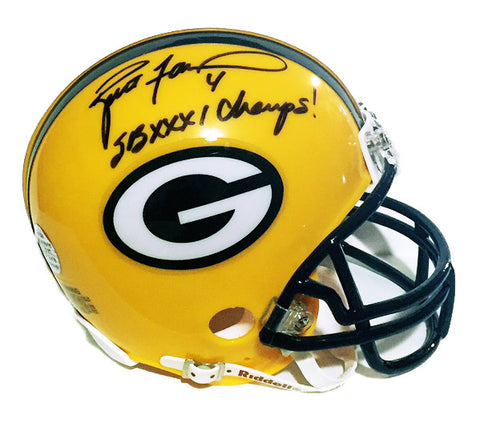 Brett Favre Green Bay Packers Signed Mini Helmet with SB XXXI Champs Inscription