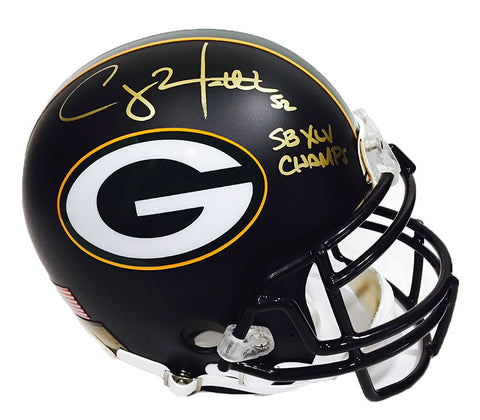 Clay Matthews Green Bay Packers Signed Full Size Black Custom Helmet with SB XLV Champs Inscription