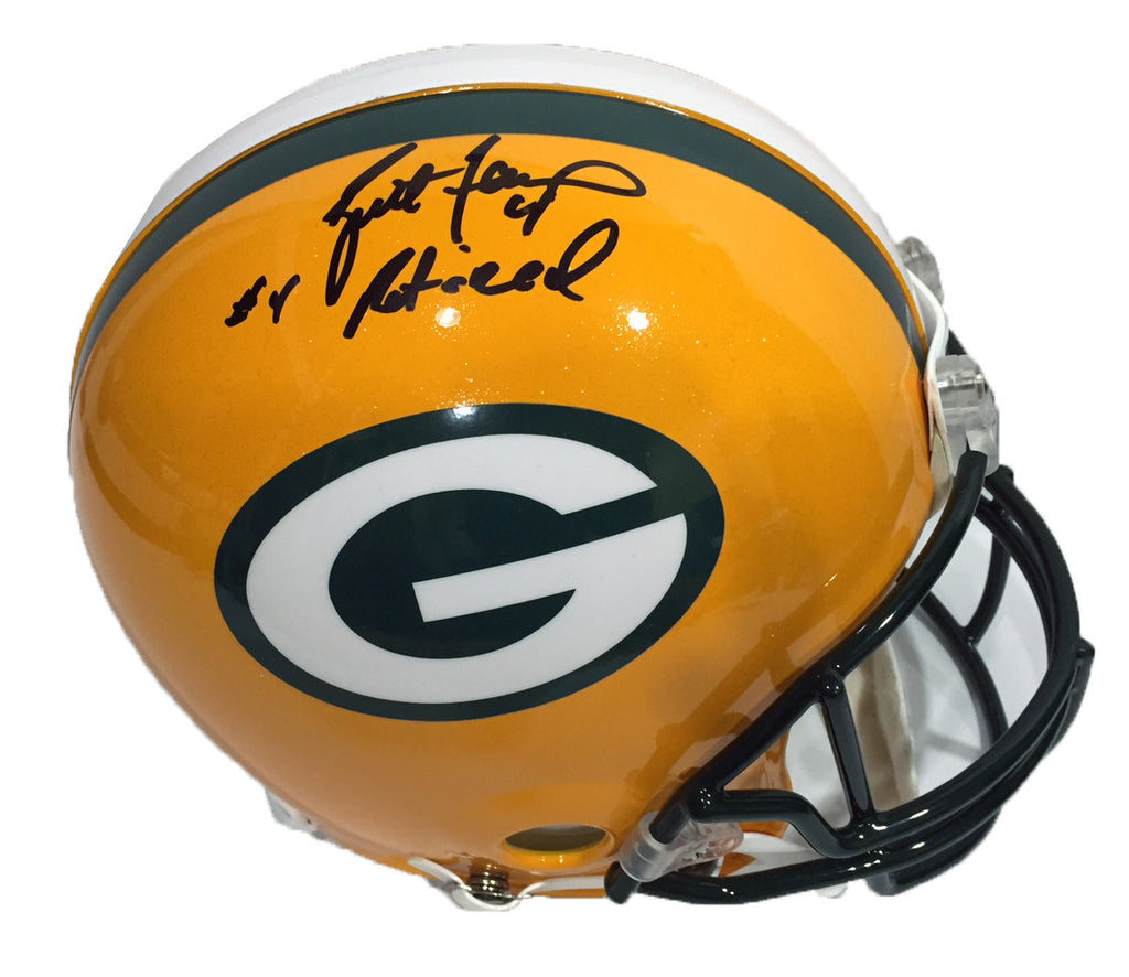 Brett Favre Green Bay Packers Signed Full Size Authentic Proline Helmet with #4 Retired Inscription