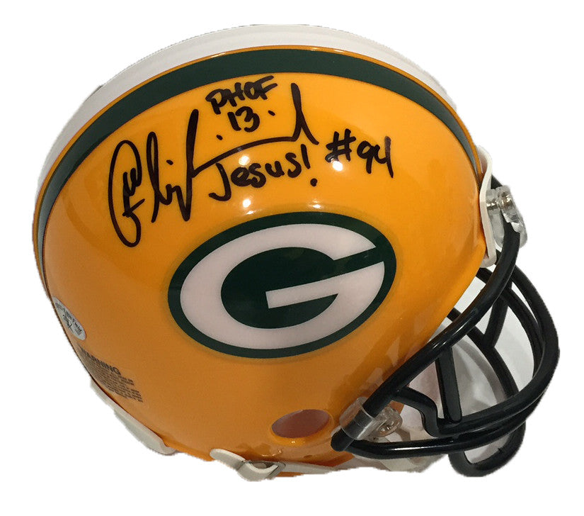 Kabeer Gbaja-Biamila Green Bay Packers Signed Mini Helmet with PHOF 13 Inscription