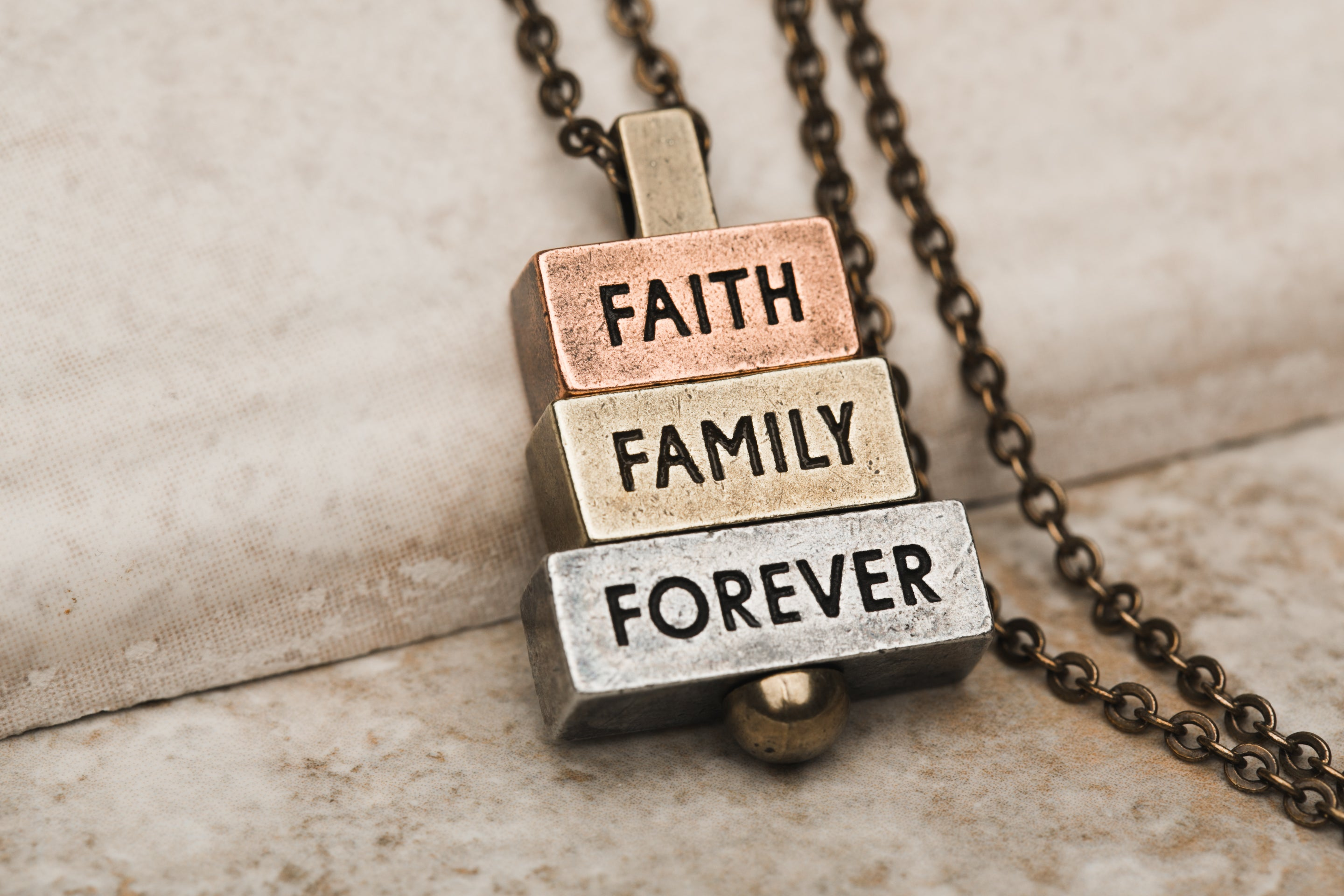 Faith Family Forever 28 inch bronze chain